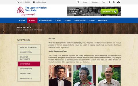 Screenshot of Team Page tlmindia.org - The Leprosy Mission Trust India | OUR PEOPLE - captured Jan. 19, 2016