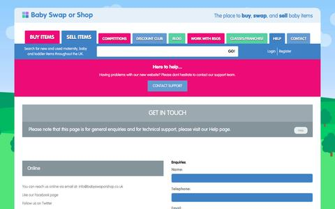 Screenshot of Contact Page babyswaporshop.co.uk - Contact - captured May 31, 2017