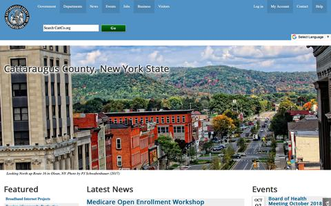 Screenshot of Home Page cattco.org - Cattaraugus County Government | Cattaraugus County - captured Sept. 27, 2018