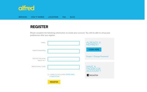 Screenshot of Signup Page alfredservice.com - Alfred - captured Oct. 4, 2014