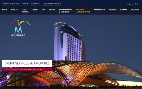 Screenshot of Services Page morongocasinoresort.com - Resort Meeting Venues | Morongo Casino Resort - captured April 14, 2018