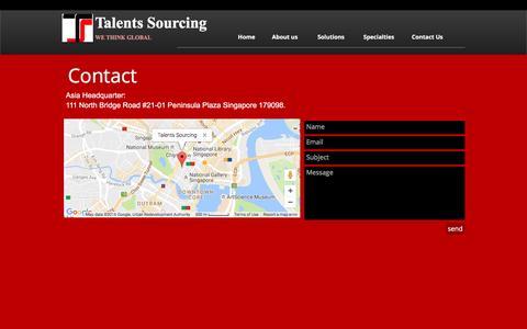 Screenshot of Contact Page talentssourcing.com - Recruitment Contact - captured Nov. 28, 2016