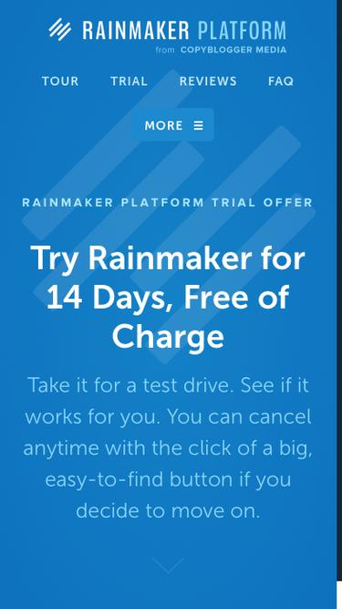 Screenshot of Trial Page  newrainmaker.com - Trial | Rainmaker Platform