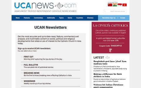 Screenshot of Signup Page ucanews.com - UCA News | Union of Catholic Asian News � Newsletter Signup - captured Oct. 29, 2017