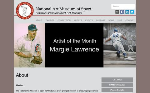 Screenshot of About Page nationalartmuseumofsport.org - NAMOS  About - captured Aug. 15, 2016