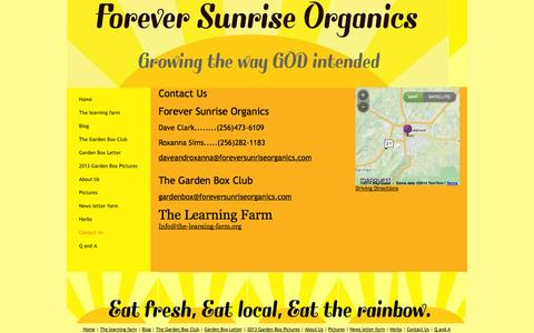 Screenshot of Contact Page foreversunriseorganics.com - Forever Sunrise Organics - Contact Us - captured Oct. 6, 2014