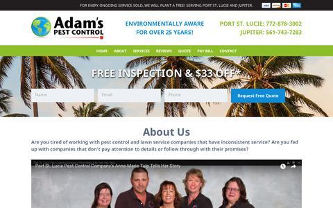 Screenshot of About Page adamspest.biz - About Adam's Pest Control | Pest Management Company Florida - captured Oct. 3, 2018