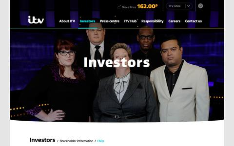 Screenshot of FAQ Page itvplc.com - FAQs – ITV plc - captured Sept. 13, 2018