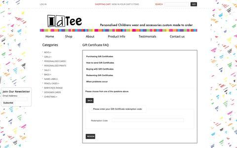 Screenshot of FAQ Page idtee.com.au - Gift Certificate FAQ : IDTEE, personalised childrens wear - captured Nov. 2, 2018