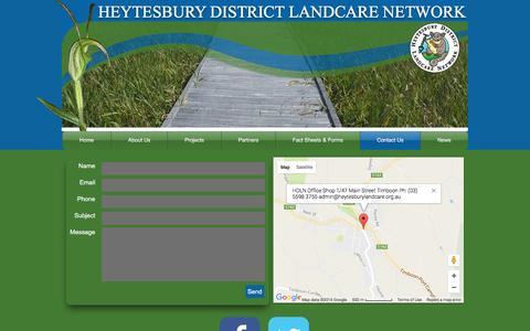 Screenshot of Contact Page heytesburylandcare.org.au - heytesburylandcare | Contact Us - captured Nov. 8, 2016