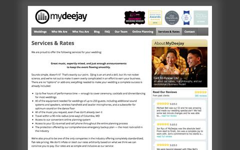 Screenshot of Pricing Page mydeejay.com - Wedding DJ Prices – Wedding DJ Cost – Our Pricing | MyDeejay - captured Oct. 26, 2014