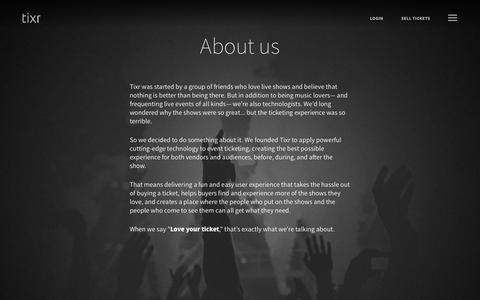 Screenshot of About Page tixr.com - Tixr | About Us | Love Your Ticket - captured June 23, 2017