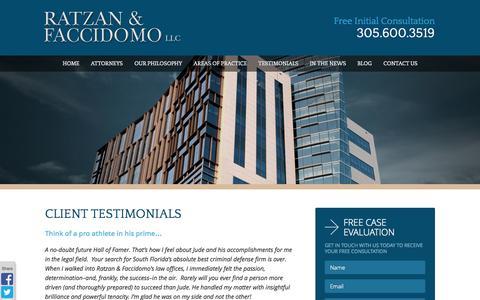 Screenshot of Testimonials Page rflawgroup.com - Miami Criminal Defense Attorney | Testimonials - captured Oct. 26, 2014