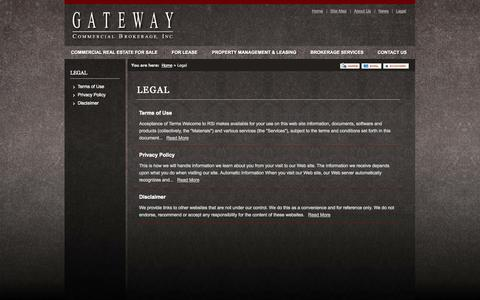 Screenshot of Terms Page gatewaycommercial.com - Legal | Gateway Commercial Brokerage, Inc. - captured Oct. 2, 2014