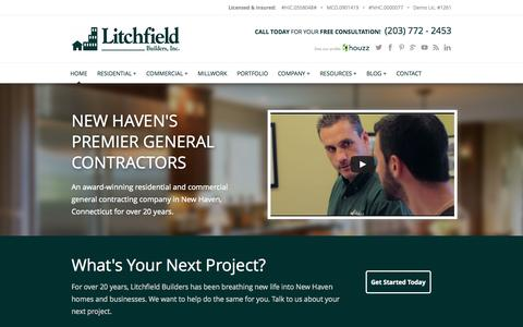 Screenshot of Home Page litchfieldbuilders.com - CT Home Remodeling & Commercial Construction | Litchfield Builders - captured Oct. 2, 2014