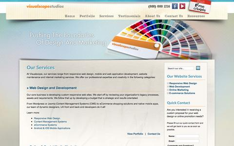 Screenshot of Services Page visualscope.com - Web Design, SEO, Ecommerce Services | Visualscope LLC - captured Dec. 5, 2016