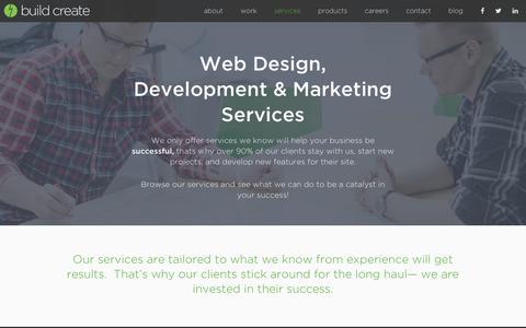 Screenshot of Services Page buildcreate.com - Services || Web Design / Development & Digital Marketing | Build/Create - captured Nov. 23, 2016