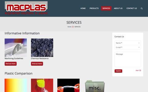 Screenshot of Services Page macplas.co.nz - SERVICES - Macplas - captured Oct. 4, 2014