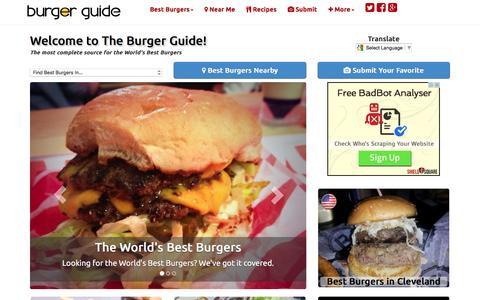 Screenshot of Home Page theburgerguide.com - The Burger Guide - World's Best Burgers - Reviews - Recipes - captured Jan. 11, 2016