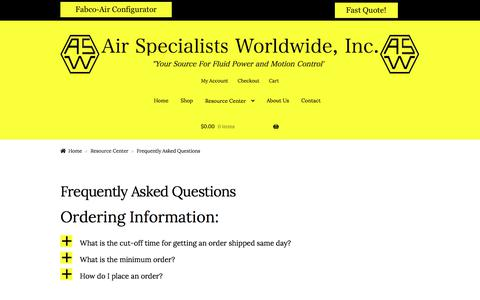 Screenshot of FAQ Page airspec.com - Frequently Asked Questions – Air Specialists Worldwide, Inc. - captured Sept. 24, 2018