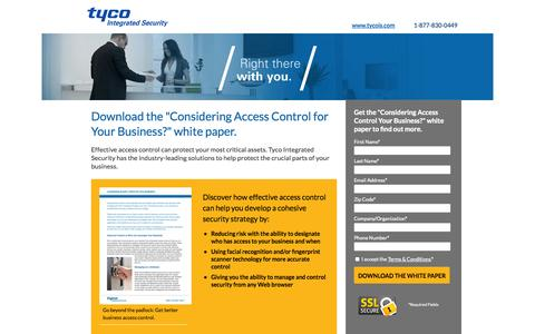 Screenshot of Landing Page tycois.com - Download: Considering Access Control for Your Business? White Paper | TycoIS - captured Oct. 27, 2014