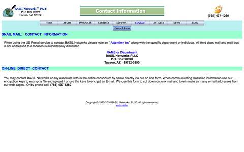 Screenshot of Contact Page basilnetworks.com - BASIL Networks->Contact Information - captured Nov. 17, 2016