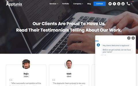 Screenshot of Testimonials Page apptunix.com - Apptunix Reviews and Client Testimonials - captured Sept. 21, 2019