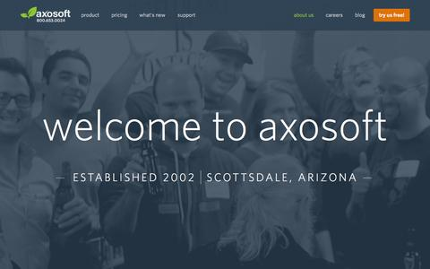 Screenshot of About Page axosoft.com - About Our Company | Axosoft - captured Oct. 1, 2015