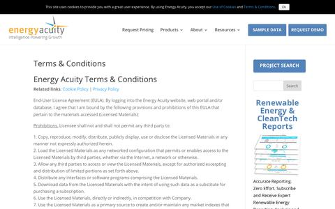 Screenshot of Terms Page energyacuity.com - Terms & Conditions - Energy Acuity - captured Jan. 10, 2020