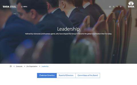 Screenshot of Team Page tatasteel.com - Tata Steel Leadership profiles & Board of Directors - captured Aug. 2, 2017