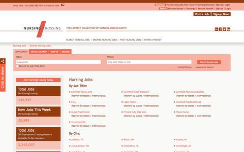 Screenshot of Jobs Page nursingcrossing.com - Browse Nursing Jobs By Job Title, City, State | NursingCrossing.com - captured Sept. 21, 2018