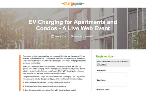 Screenshot of Landing Page chargepoint.com - EV Charging for Apartments and Condos - A Live Web Event - captured Aug. 18, 2016