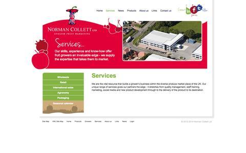 Screenshot of Services Page normancollett.com - Norman Collett Ltd - Services - captured Oct. 7, 2014