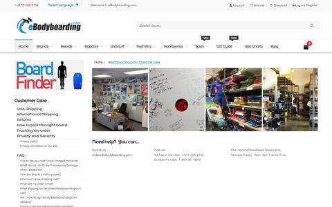Screenshot of Support Page ebodyboarding.com - eBodyboarding.com - Customer Care - captured Jan. 14, 2016