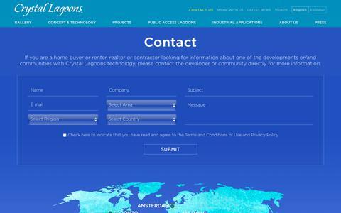 Screenshot of Contact Page crystal-lagoons.com - Contact Us | Crystal Lagoons - captured July 22, 2018