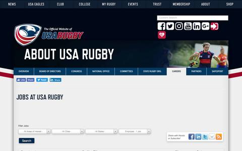 Screenshot of Jobs Page usarugby.org - Careers – USA Rugby - captured Jan. 8, 2018