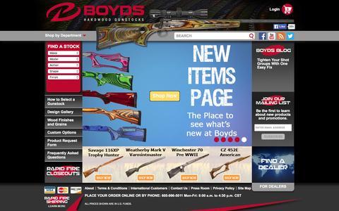 Screenshot of Home Page boydsgunstocks.com - Boyds Gunstocks - Custom Gunstocks   Custom Hardwood Gunstocks - captured Jan. 27, 2016