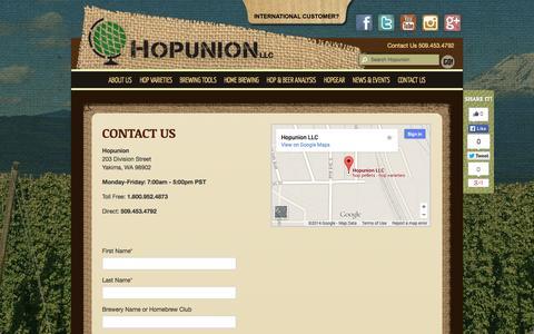 Screenshot of Contact Page hopunion.com - Contact Us ~ Hopunion - captured Sept. 22, 2014