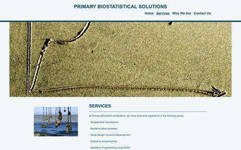 Screenshot of Services Page primarybiostat.com - Primary Biostatistical Solutions - Services - captured June 30, 2018