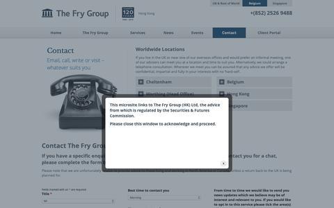 Screenshot of Contact Page thefrygroup.hk - Contact The Fry Group Hong Kong | Tax & Financial Planning | UK Expats - captured Oct. 22, 2018
