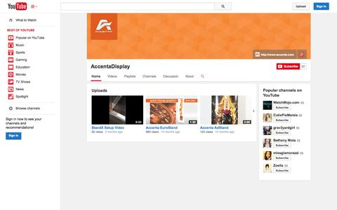 Screenshot of YouTube Page youtube.com - AccentaDisplay  - YouTube - captured Oct. 23, 2014