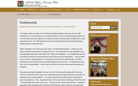 Screenshot of Testimonials Page mccallgolf.com - Testimonials - McCall Golf & Country Club - captured Oct. 7, 2014