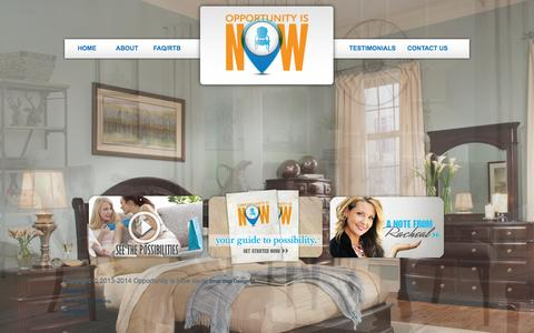 Screenshot of Home Page opportunityisnow.com - The Opportunity is Now for you to start a furniture business - captured Oct. 9, 2014