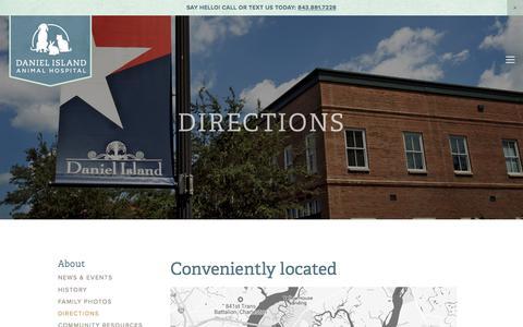 Screenshot of Maps & Directions Page danielislandvet.com - Directions — Daniel Island Animal Hospital - captured Oct. 12, 2017