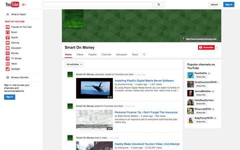 Screenshot of YouTube Page youtube.com - Smart On Money  - YouTube - captured Nov. 2, 2014