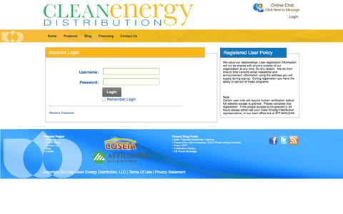 Screenshot of Login Page cleanenergydistribution.com - Solar and Renewable Energy Master Distributor - Clean Energy Distribution > User Access - captured Sept. 29, 2014