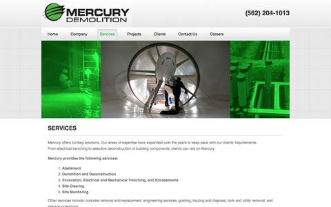 Screenshot of Services Page mercurydemolition.com - Services | Mercury Demolition - captured Oct. 27, 2014