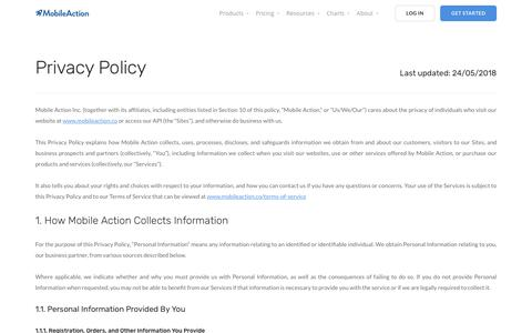 Privacy Policy | Mobile Action - App Marketing Intelligence Tool