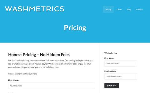 Screenshot of Pricing Page washmetrics.com - Pricing - WashMetrics - captured Oct. 8, 2014