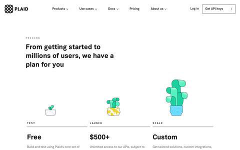 Screenshot of Pricing Page plaid.com - Pricing - Plaid - captured Sept. 12, 2018
